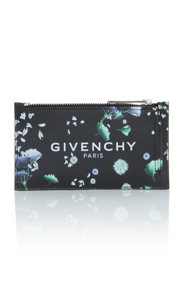 Floral Leather Zip Card Case
