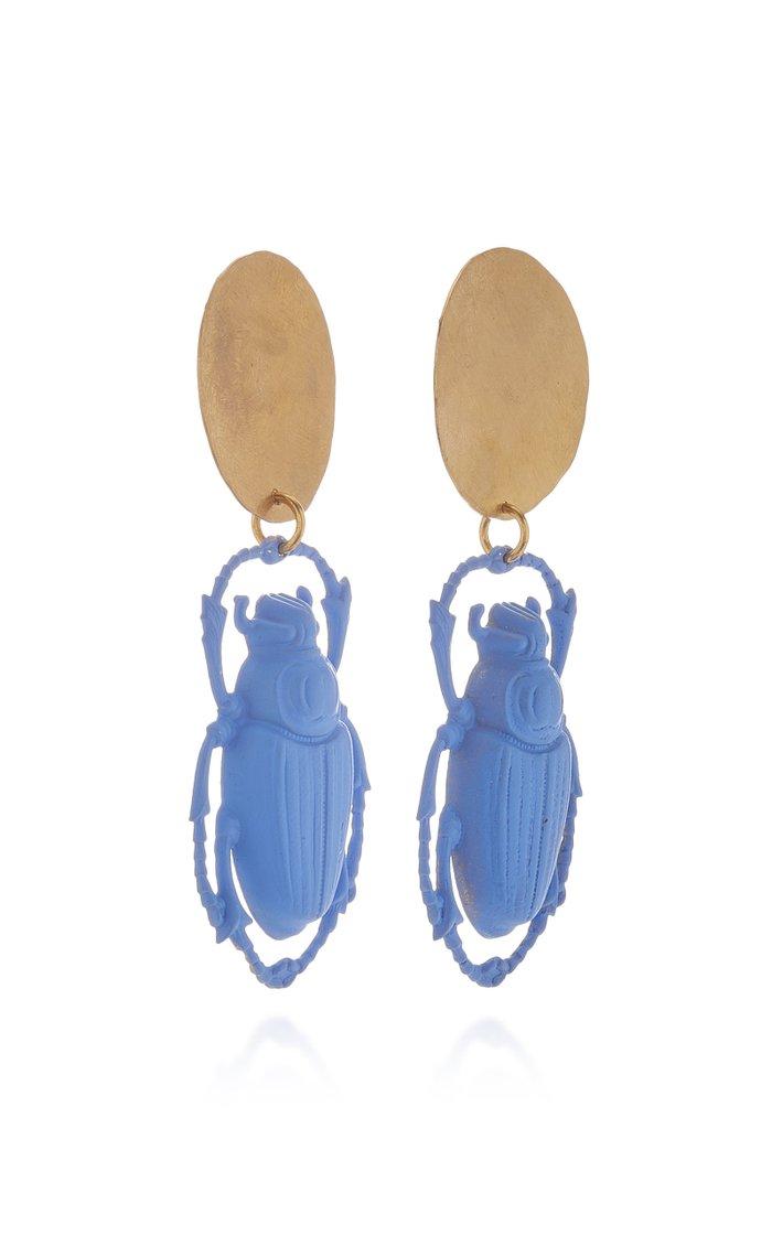Khepri Brass and Glass Earrings