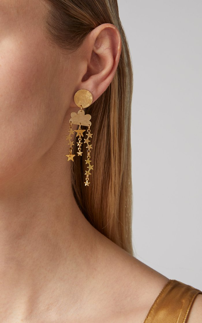 Stargazer Mismatched Brass Earrings