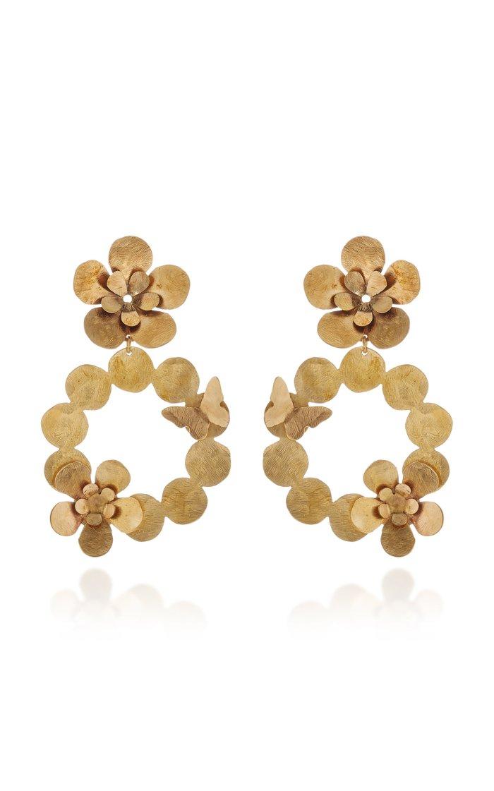 Butterfly Garden Brass Earrings