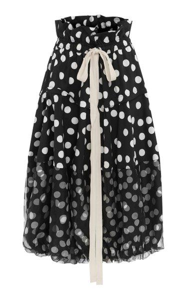 Cherry Polka-Dot Chiffon-Paneled Cotton-Blend Midi Skirt