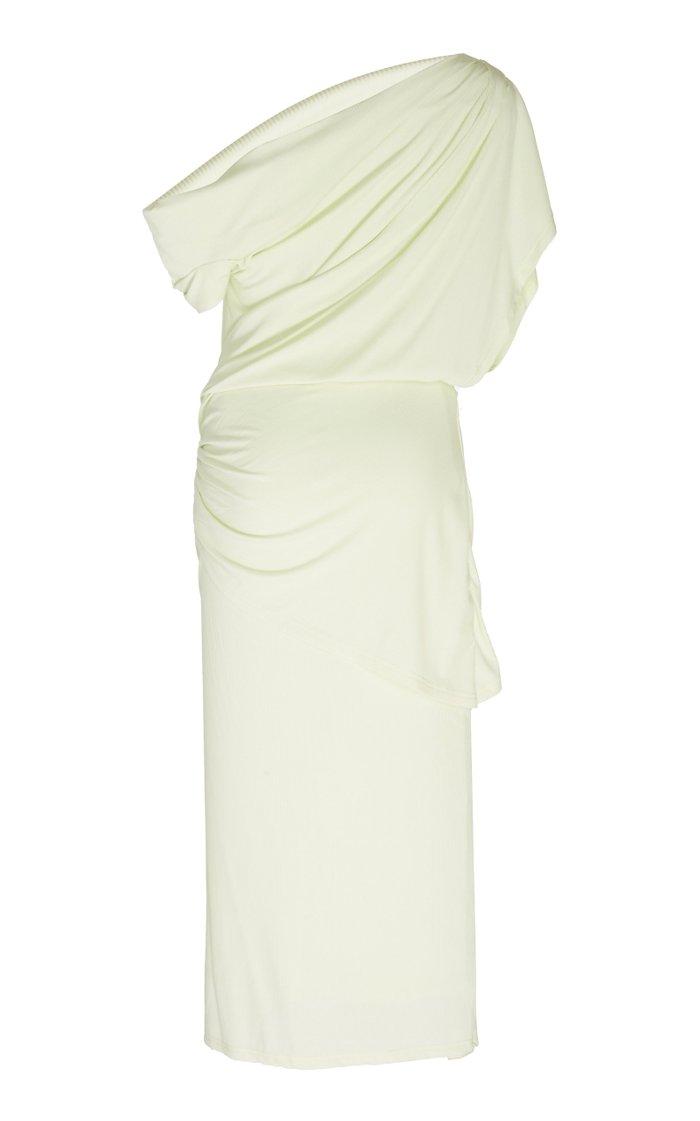 Karline Cold-Shoulder Draped Stretch-Modal Midi Dress