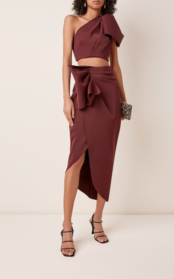 Mancroft Cropped Crepe One-Shoulder Top