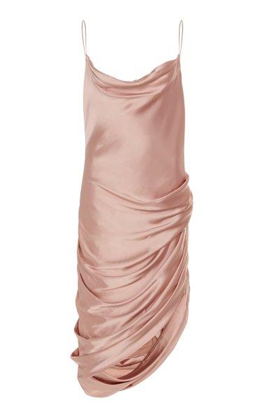 Cowl Neck Drape Midi Dress