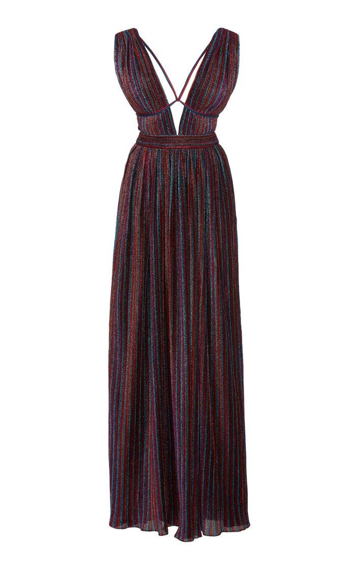 Rainbow Pleats V-Neck Maxi Dress