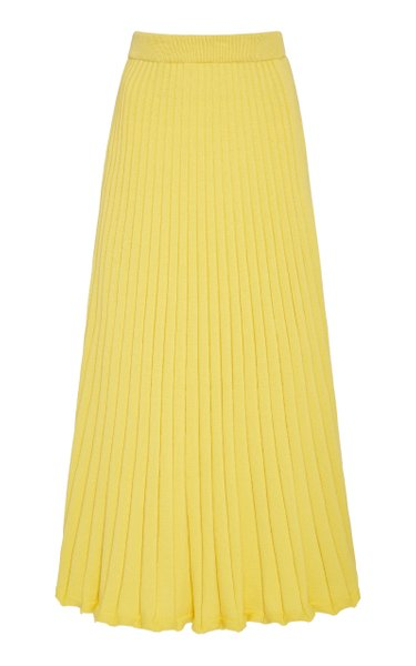 Lulu Pleated Cotton Midi Skirt