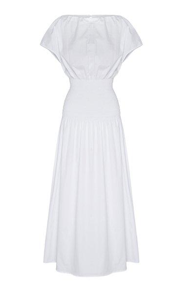 Emma-Kate Shirred Cotton-Poplin Midi Dress