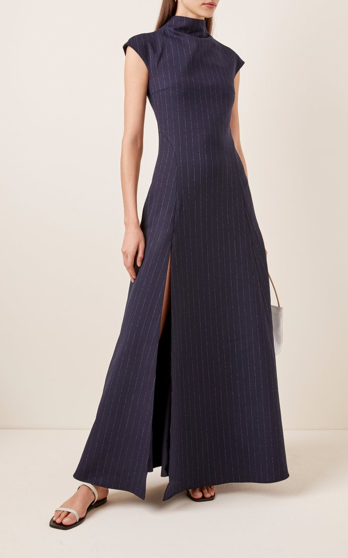 Rhoda Pinstriped Crepe Maxi Dress
