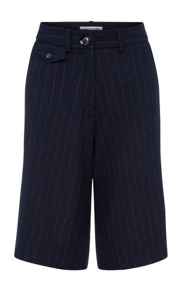 Rae Pinstriped Crepe Shorts