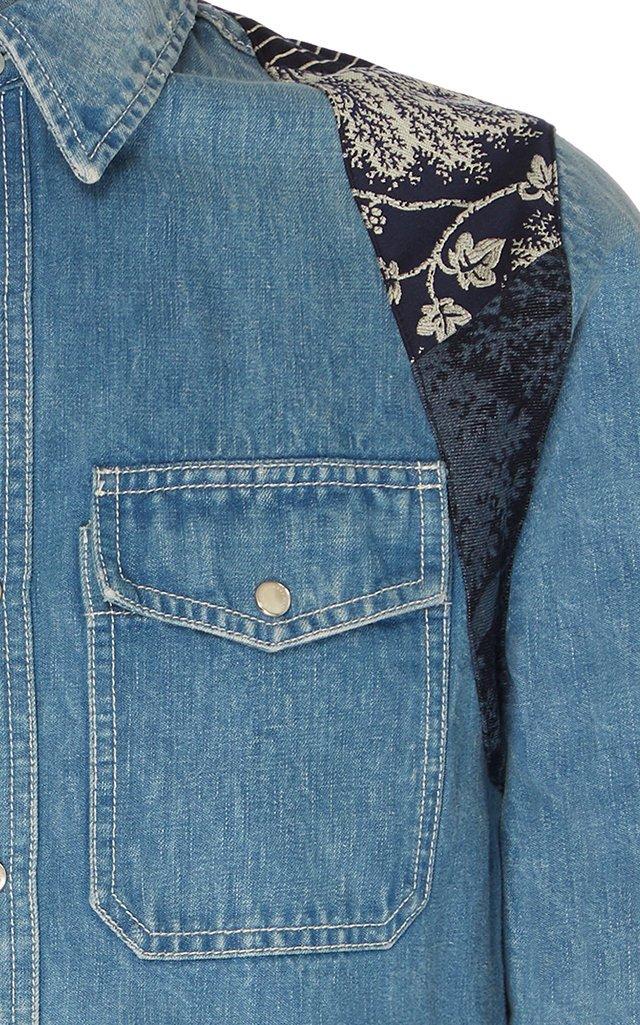 Harness-Detailed Denim Shirt