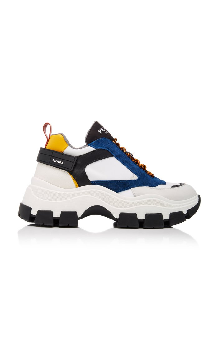 Color-Block Leather and Nylon Sneakers