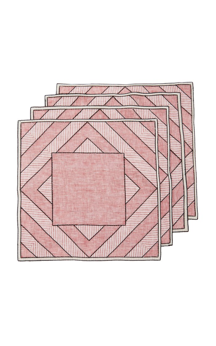 Set-Of-Four Red Striped Linen Placemats