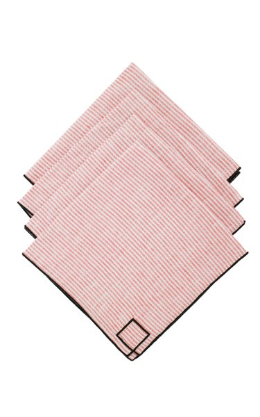 Set-Of-Four Red Striped Linen Napkins