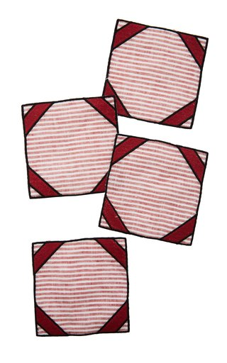 Set-Of-Four Red Striped Linen Coasters