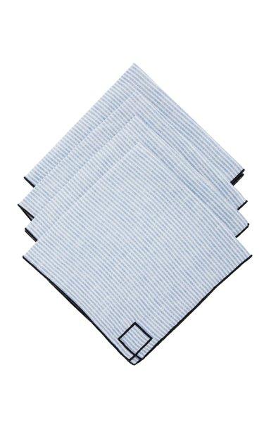 Set-Of-Four Blue Striped Linen Napkins