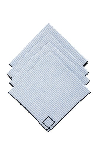Set-Of-Four Blue Striped Linen Napkins