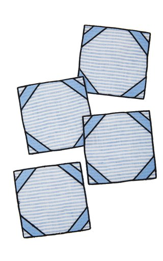Set-Of-Four Blue Striped Linen Coasters