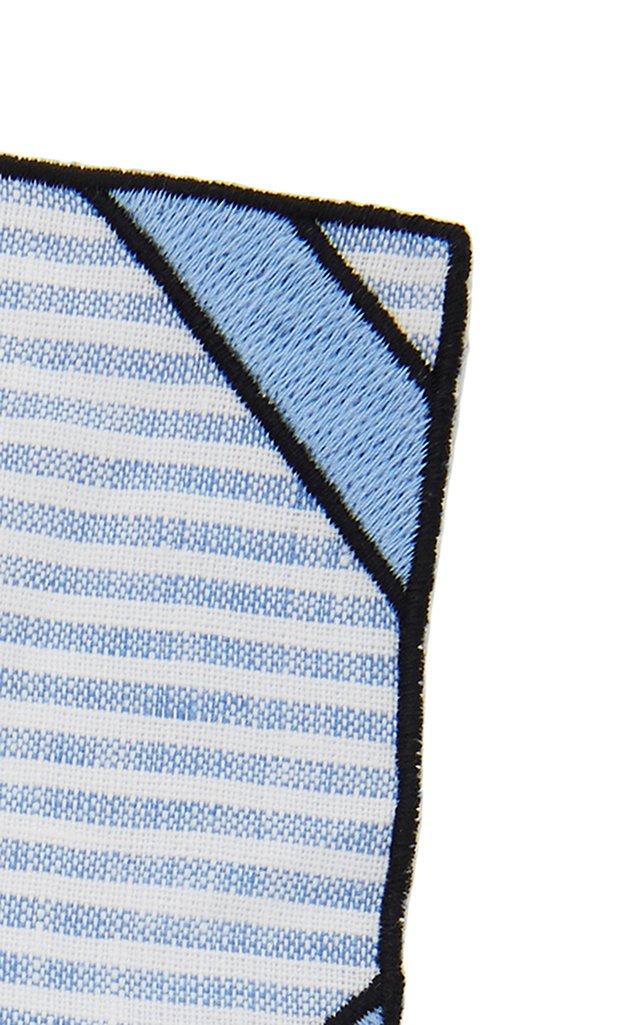 Set-Of-Four Blue Striped Linen Coasters