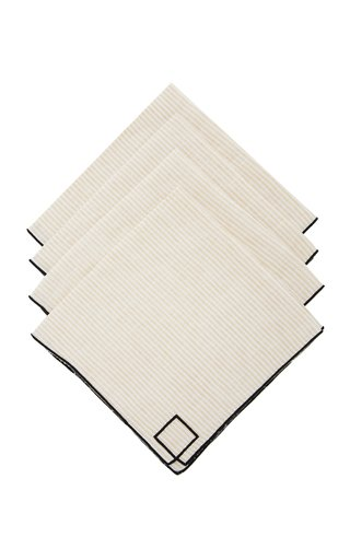 Set-Of-Four Neutral Striped Linen Napkins