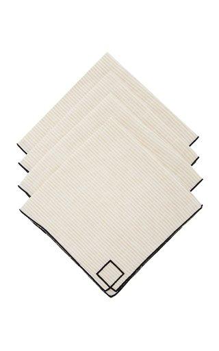 Set-Of-Four Neutral Striped Linen Napkins