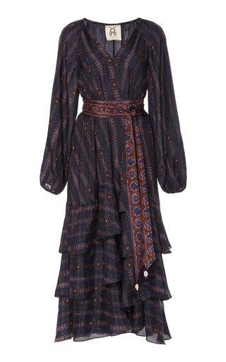 Kira Ruffled Printed Silk-Georgette Midi Dress