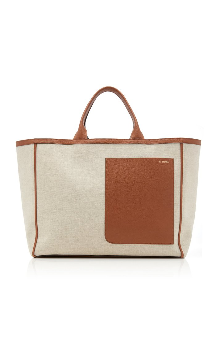 Shopping Large Leather-Trimmed Canvas Tote