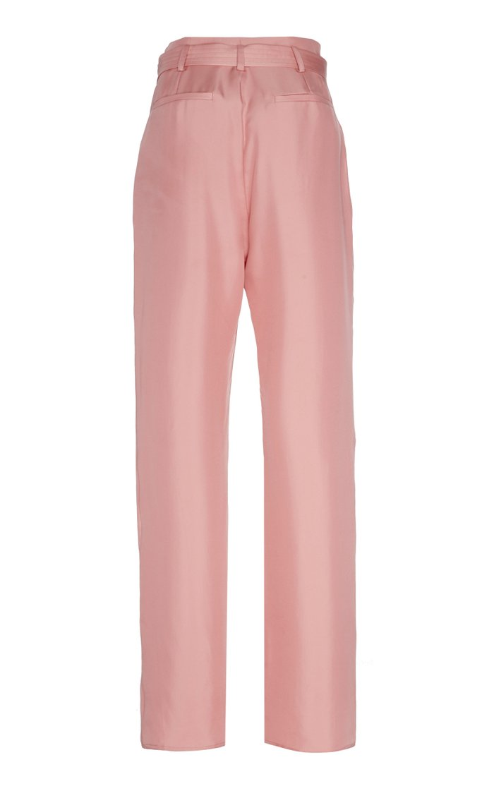 Belted Pleated Twill High-Rise Straight-Leg Trousers