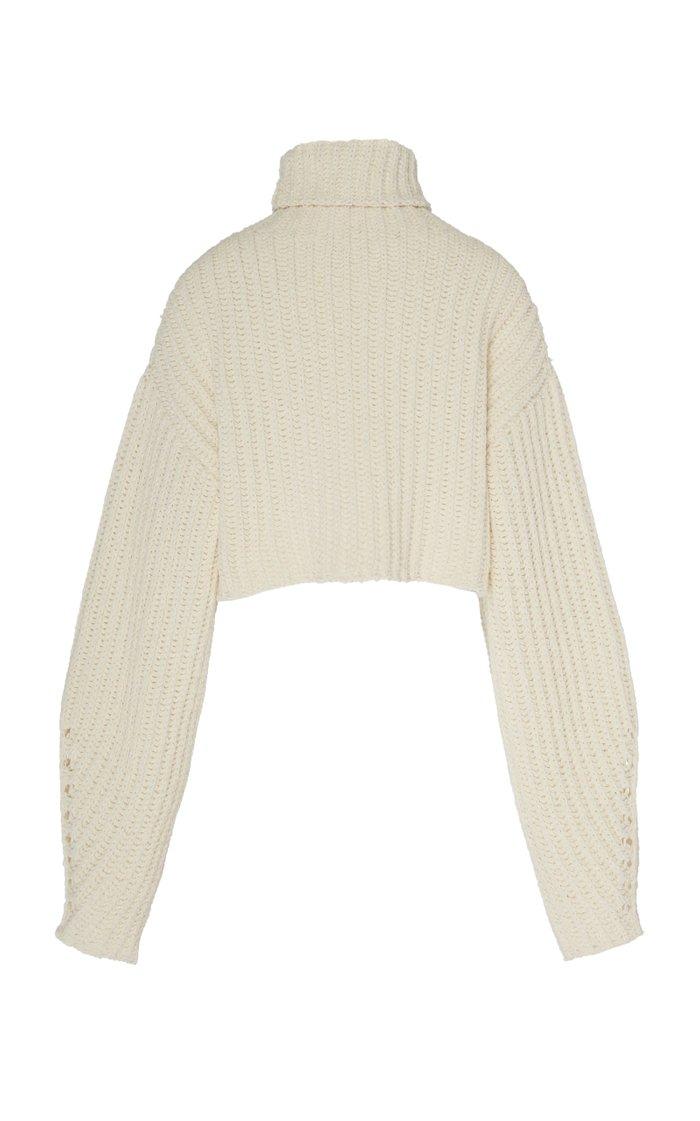 Oversized Silk-Cashmere Cropped Turtleneck Sweater