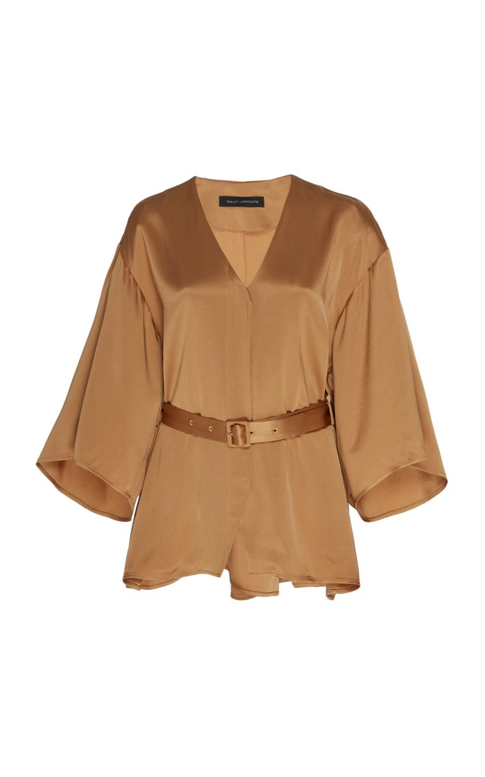 Belted Double-Faced Satin Kimono Top