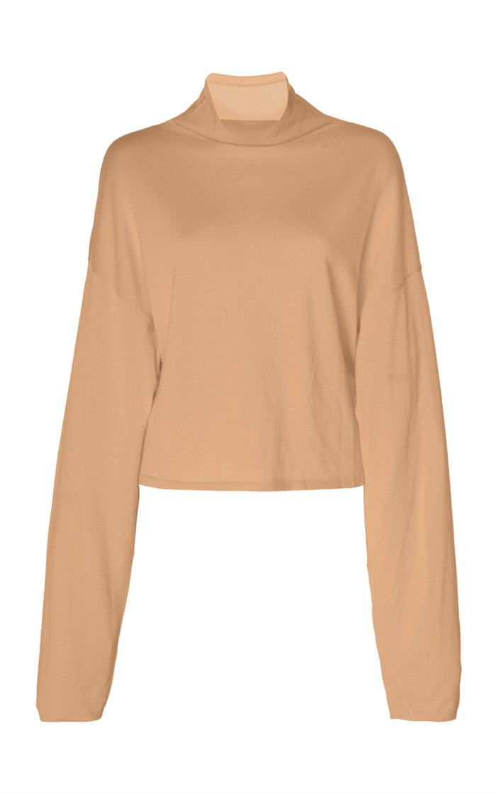 Oversized Wool, Silk and Cashmere Cropped Mockneck Top