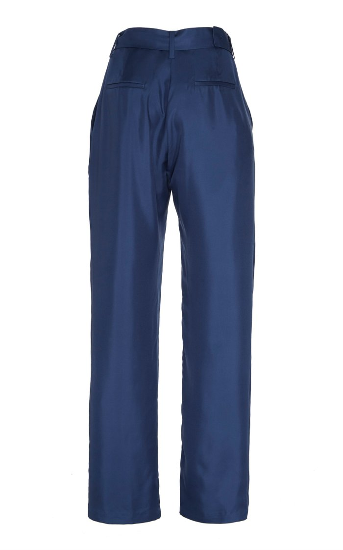 Belted Pleated Twill Straight-Leg Trousers