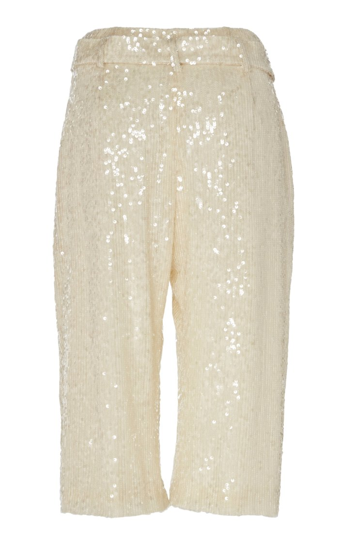 Cropped Sequined Crepe Straight-Leg Pants