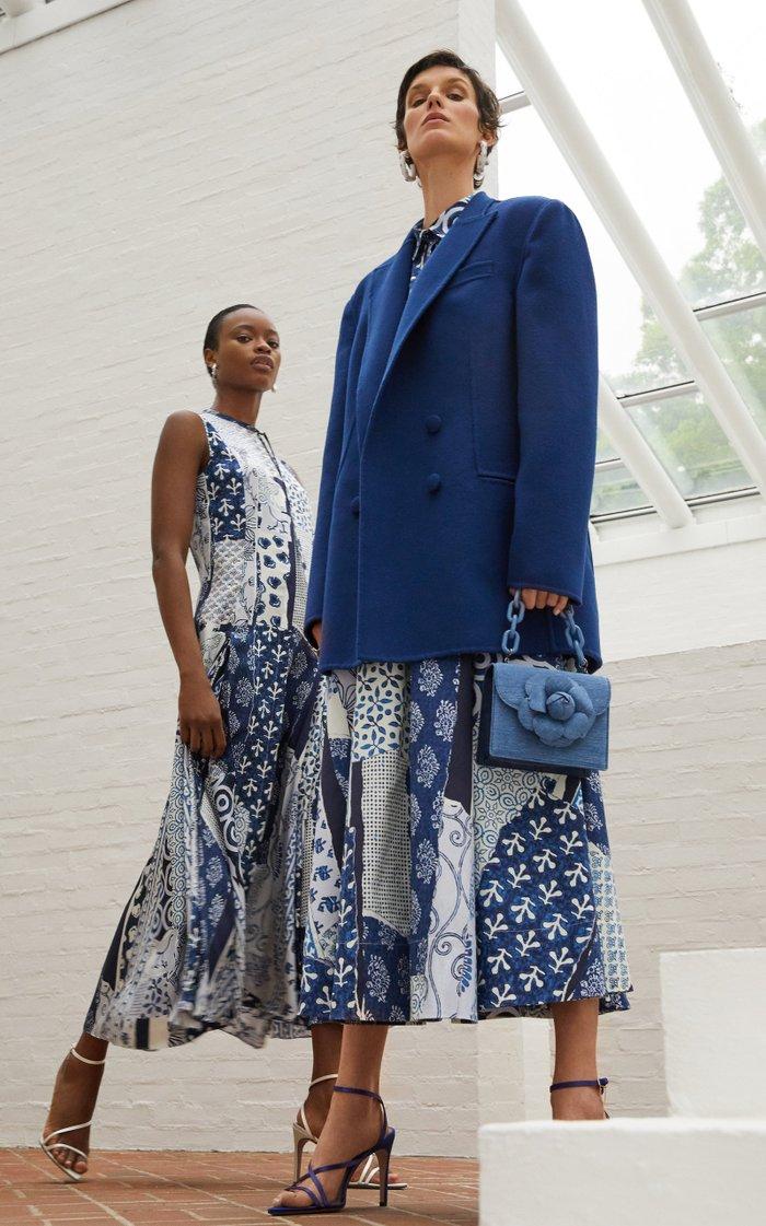 Patterned Silk Midi Dress