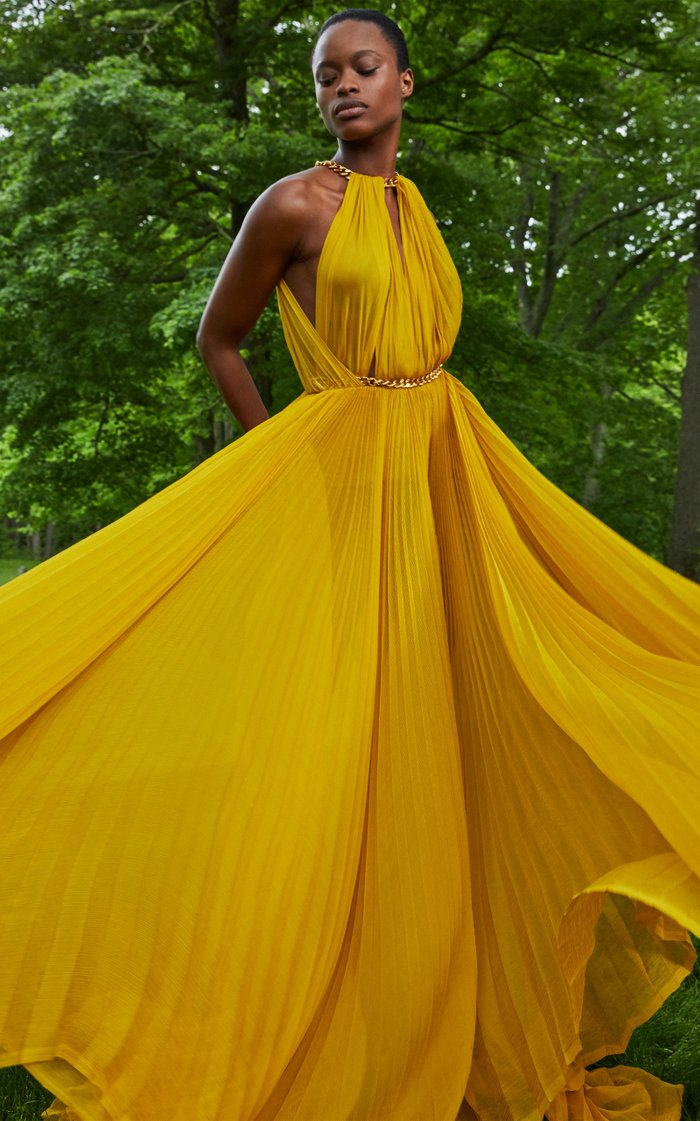 Chain-Embellished Pleated Silk Gown