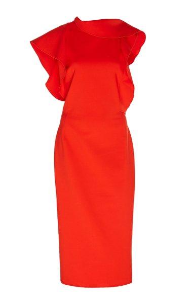 Ruffle-Accented Wool Midi Dress