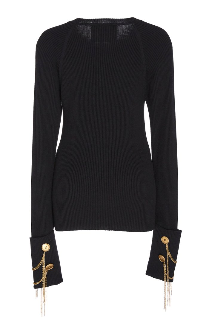 Chain-Embellished Wool And Silk-Blend Sweater