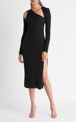 Asymmetrical Ribbed Slik Midi Dress
