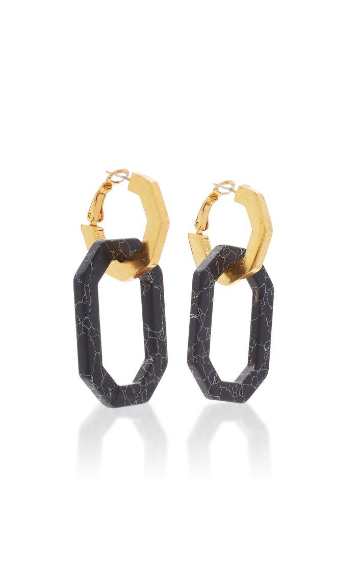 Gold-Tone And Onyx Earrings