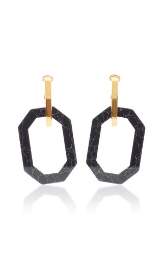 Gold-Tone And Onyx Earrings