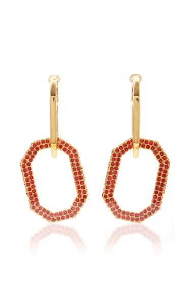 Gold-Tone And Pavé Crystal Earrings
