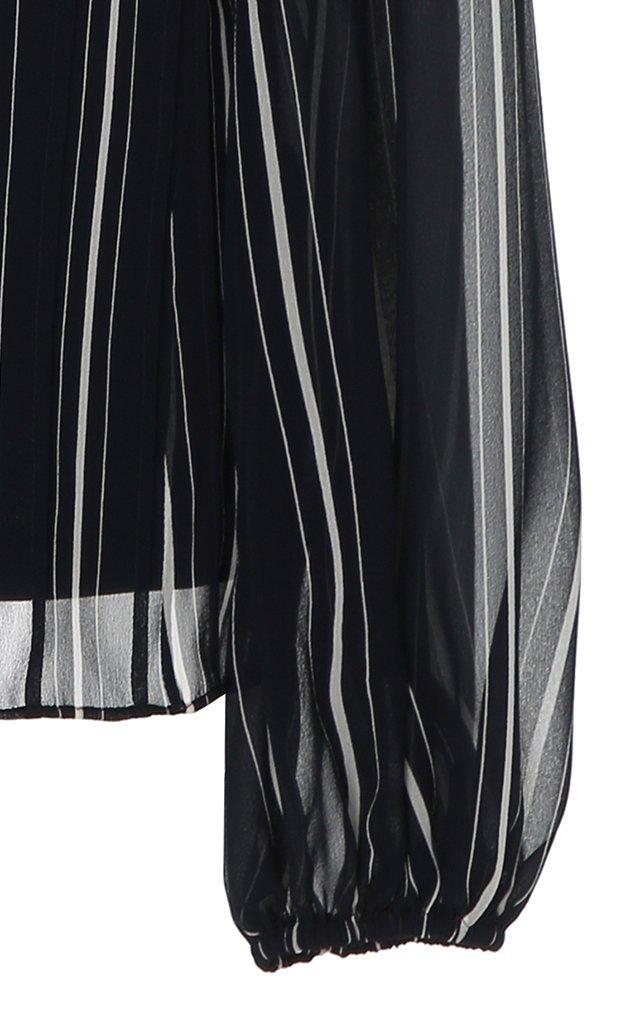 Pintstripe Silk-Georgette Blouse