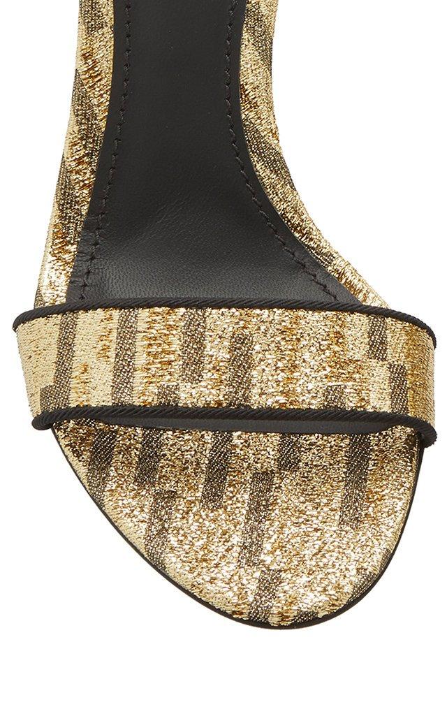 Logo-Embellished Lurex Sandals