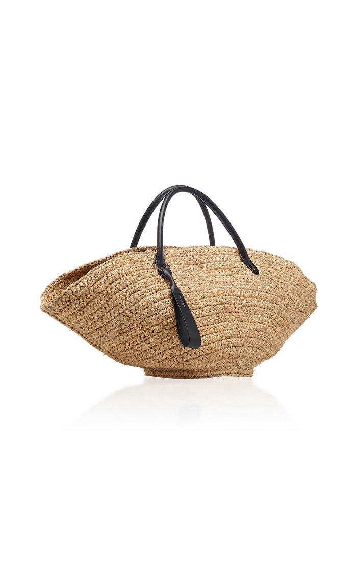 Sombrero Medium Leather-Trimmed Straw Tote