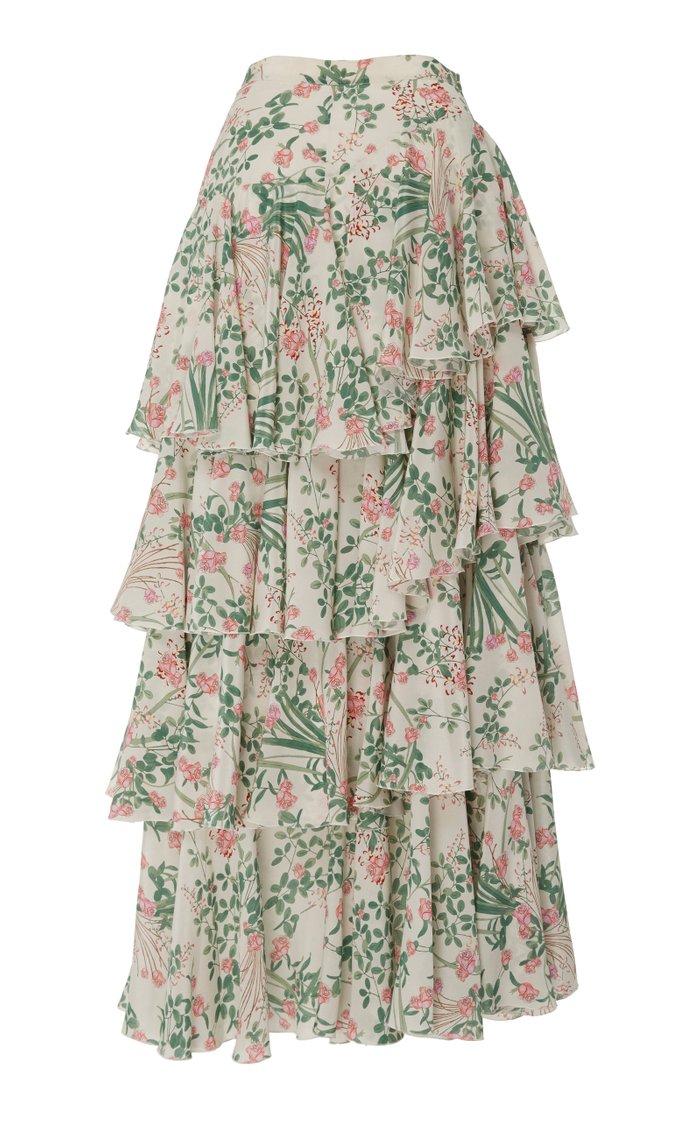 Tiered Floral Silk Maxi Skirt