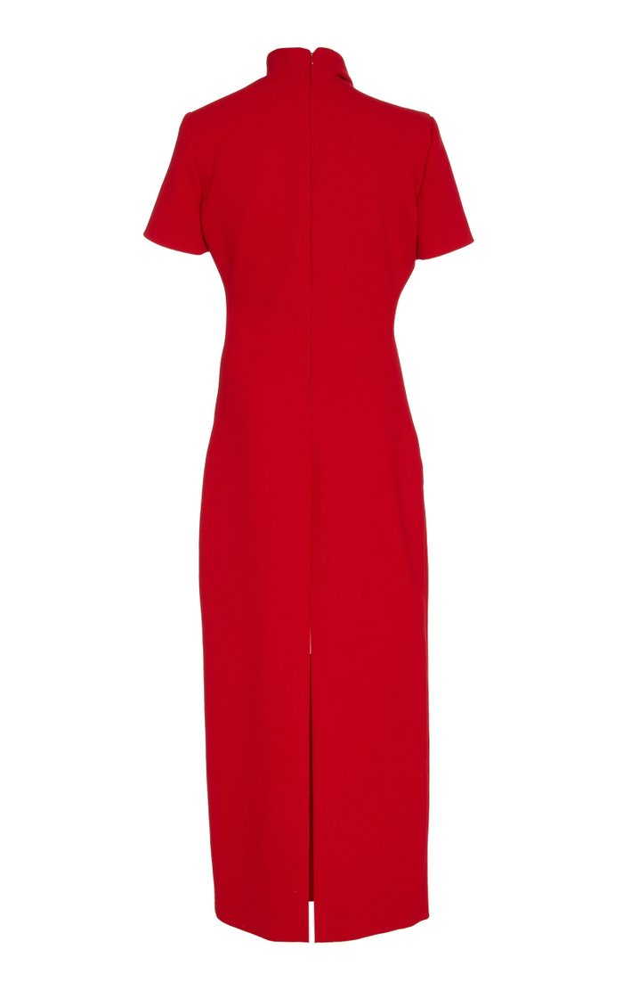 Exclusive Draped Wool-Crepe Midi Dress