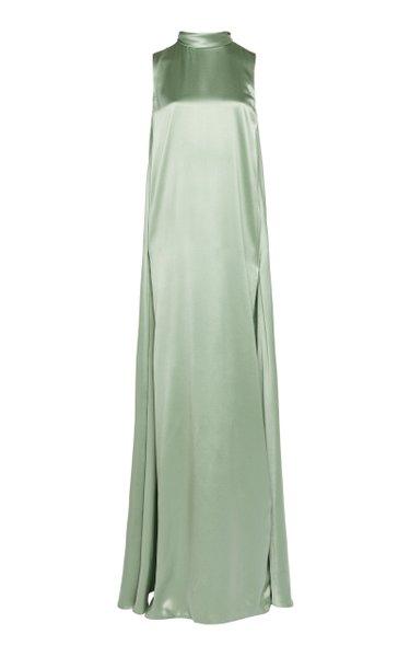 Tie-Detailed Silk-Satin Gown