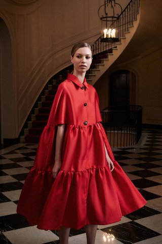 Ruffled Duchess Satin Cape Dress