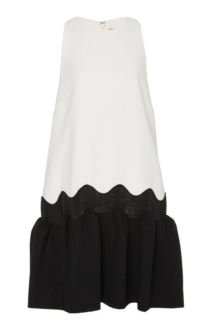 Wave Two-Tone Wool-Blend Mini Dress