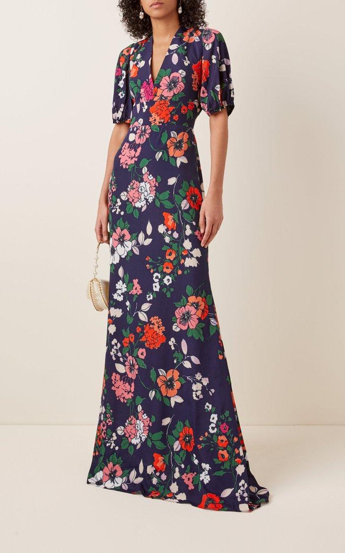 Floral-Print Crepe De Chine Maxi Dress