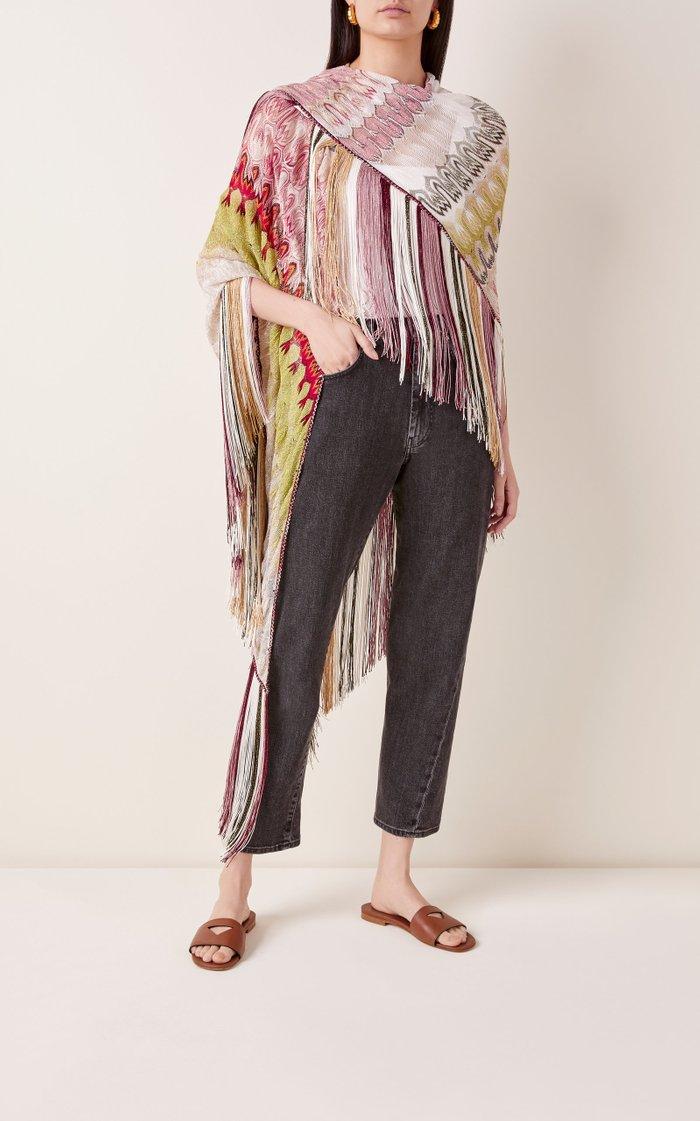 Fringed Multicolor Cotton Shawl